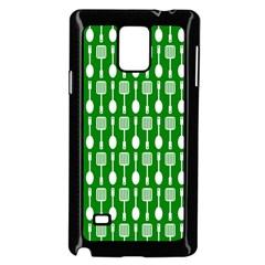 Green And White Kitchen Utensils Pattern Samsung Galaxy Note 4 Case (black)