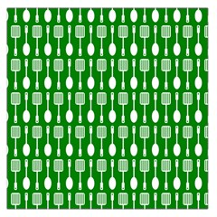 Green And White Kitchen Utensils Pattern Large Satin Scarf (Square)