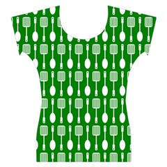 Green And White Kitchen Utensils Pattern Women s Cap Sleeve Top