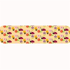 Colorful Ladybug Bess And Flowers Pattern Large Bar Mats