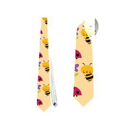 Colorful Ladybug Bess And Flowers Pattern Neckties (Two Side)