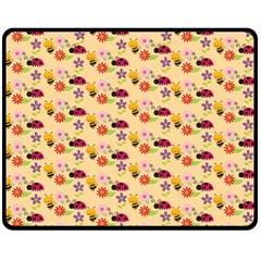 Colorful Ladybug Bess And Flowers Pattern Fleece Blanket (medium)