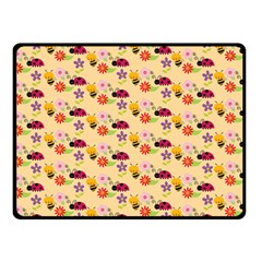 Colorful Ladybug Bess And Flowers Pattern Fleece Blanket (Small)