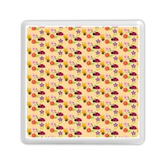 Colorful Ladybug Bess And Flowers Pattern Memory Card Reader (Square)