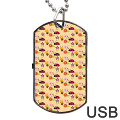 Colorful Ladybug Bess And Flowers Pattern Dog Tag USB Flash (One Side)