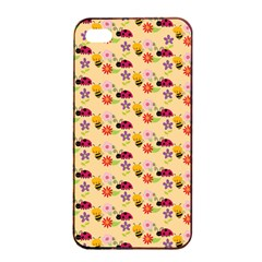 Colorful Ladybug Bess And Flowers Pattern Apple iPhone 4/4s Seamless Case (Black)