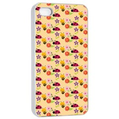 Colorful Ladybug Bess And Flowers Pattern Apple Iphone 4/4s Seamless Case (white)
