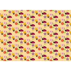 Colorful Ladybug Bess And Flowers Pattern Birthday Cake 3D Greeting Card (7x5)