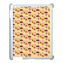 Colorful Ladybug Bess And Flowers Pattern Apple Ipad 3/4 Case (white)