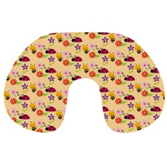 Colorful Ladybug Bess And Flowers Pattern Travel Neck Pillows