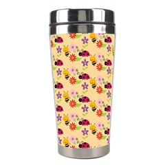 Colorful Ladybug Bess And Flowers Pattern Stainless Steel Travel Tumblers