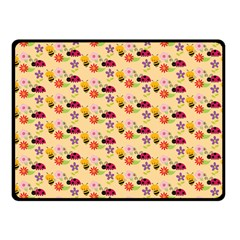 Colorful Ladybug Bess And Flowers Pattern Double Sided Fleece Blanket (Small)
