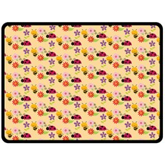Colorful Ladybug Bess And Flowers Pattern Double Sided Fleece Blanket (Large)