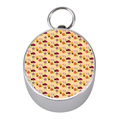 Colorful Ladybug Bess And Flowers Pattern Mini Silver Compasses