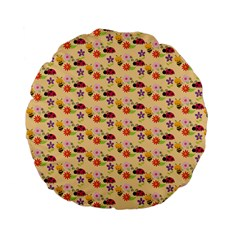 Colorful Ladybug Bess And Flowers Pattern Standard 15  Premium Flano Round Cushions