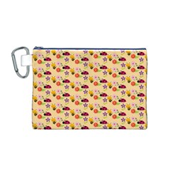 Colorful Ladybug Bess And Flowers Pattern Canvas Cosmetic Bag (M)