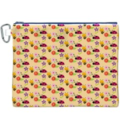 Colorful Ladybug Bess And Flowers Pattern Canvas Cosmetic Bag (XXXL)