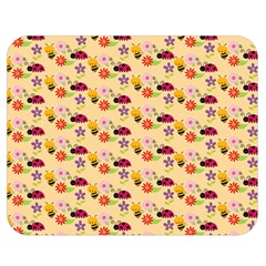 Colorful Ladybug Bess And Flowers Pattern Double Sided Flano Blanket (Medium)