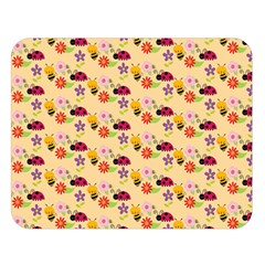 Colorful Ladybug Bess And Flowers Pattern Double Sided Flano Blanket (Large)