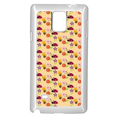 Colorful Ladybug Bess And Flowers Pattern Samsung Galaxy Note 4 Case (White)