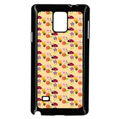Colorful Ladybug Bess And Flowers Pattern Samsung Galaxy Note 4 Case (black)