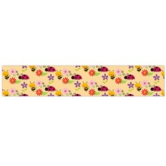 Colorful Ladybug Bess And Flowers Pattern Flano Scarf (large)