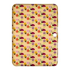 Colorful Ladybug Bess And Flowers Pattern Samsung Galaxy Tab 4 (10.1 ) Hardshell Case