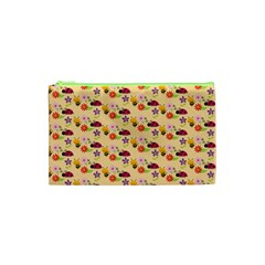 Colorful Ladybug Bess And Flowers Pattern Cosmetic Bag (XS)