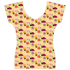 Colorful Ladybug Bess And Flowers Pattern Women s V-Neck Cap Sleeve Top