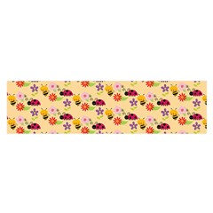 Colorful Ladybug Bess And Flowers Pattern Satin Scarf (Oblong)