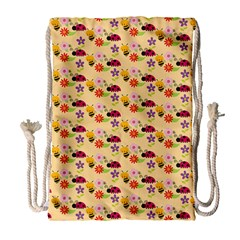 Colorful Ladybug Bess And Flowers Pattern Drawstring Bag (large)