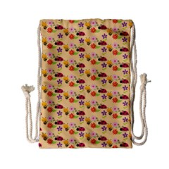 Colorful Ladybug Bess And Flowers Pattern Drawstring Bag (small)