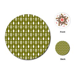 Olive Green Spatula Spoon Pattern Playing Cards (Round)