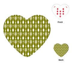 Olive Green Spatula Spoon Pattern Playing Cards (Heart)
