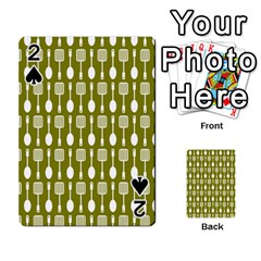 Olive Green Spatula Spoon Pattern Playing Cards 54 Designs