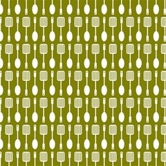 Olive Green Spatula Spoon Pattern Magic Photo Cubes