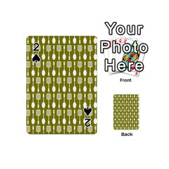 Olive Green Spatula Spoon Pattern Playing Cards 54 (Mini)