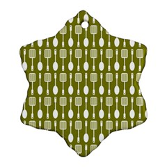 Olive Green Spatula Spoon Pattern Ornament (Snowflake)