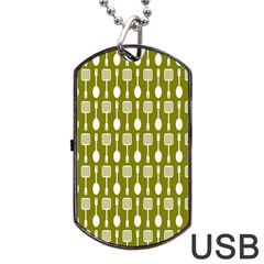 Olive Green Spatula Spoon Pattern Dog Tag USB Flash (Two Sides)