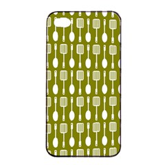 Olive Green Spatula Spoon Pattern Apple Iphone 4/4s Seamless Case (black)