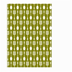 Olive Green Spatula Spoon Pattern Large Garden Flag (two Sides)