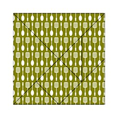 Olive Green Spatula Spoon Pattern Acrylic Tangram Puzzle (6  X 6 )