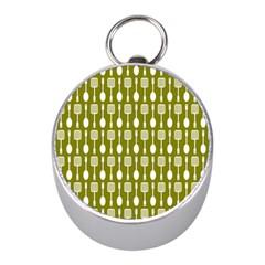 Olive Green Spatula Spoon Pattern Mini Silver Compasses