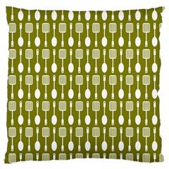 Olive Green Spatula Spoon Pattern Large Flano Cushion Cases (Two Sides)