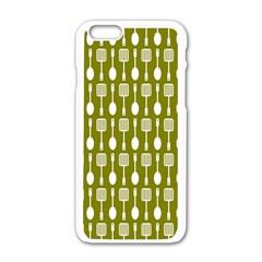 Olive Green Spatula Spoon Pattern Apple Iphone 6 White Enamel Case