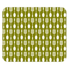 Olive Green Spatula Spoon Pattern Double Sided Flano Blanket (Small)