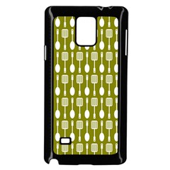 Olive Green Spatula Spoon Pattern Samsung Galaxy Note 4 Case (black)