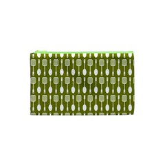 Olive Green Spatula Spoon Pattern Cosmetic Bag (XS)