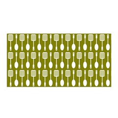 Olive Green Spatula Spoon Pattern Satin Wrap