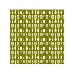 Olive Green Spatula Spoon Pattern Small Satin Scarf (Square)